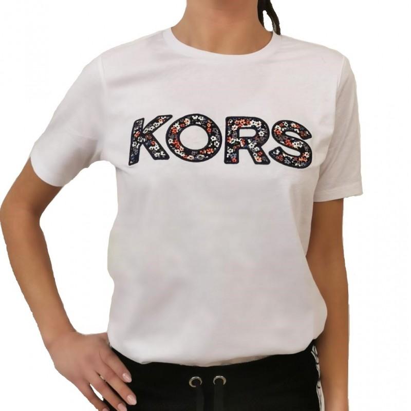MICHAEL by MICHAEL KORS -T-Shirt in Cotone Logo Fiori - Bianco