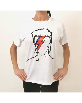 FRANKIE MORELLO - Cotton T-Shirt Bowie Print - White