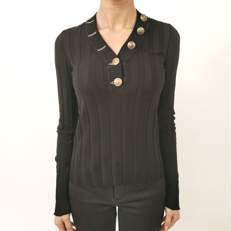 PHILOSOPHY di LORENZO SERAFINI  - Stretch ribbed knit - Black