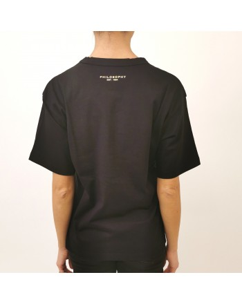 PHILOSOPHY di LORENZO SERAFINI - Sequins Logo T- Shirt - Black