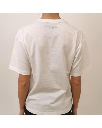 PHILOSOPHY di LORENZO SERAFINI - T-Shirt Logo con paillettes - Bianco