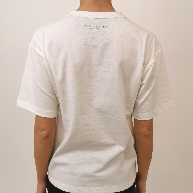 PHILOSOPHY di LORENZO SERAFINI - Sequins Logo T- Shirt - White