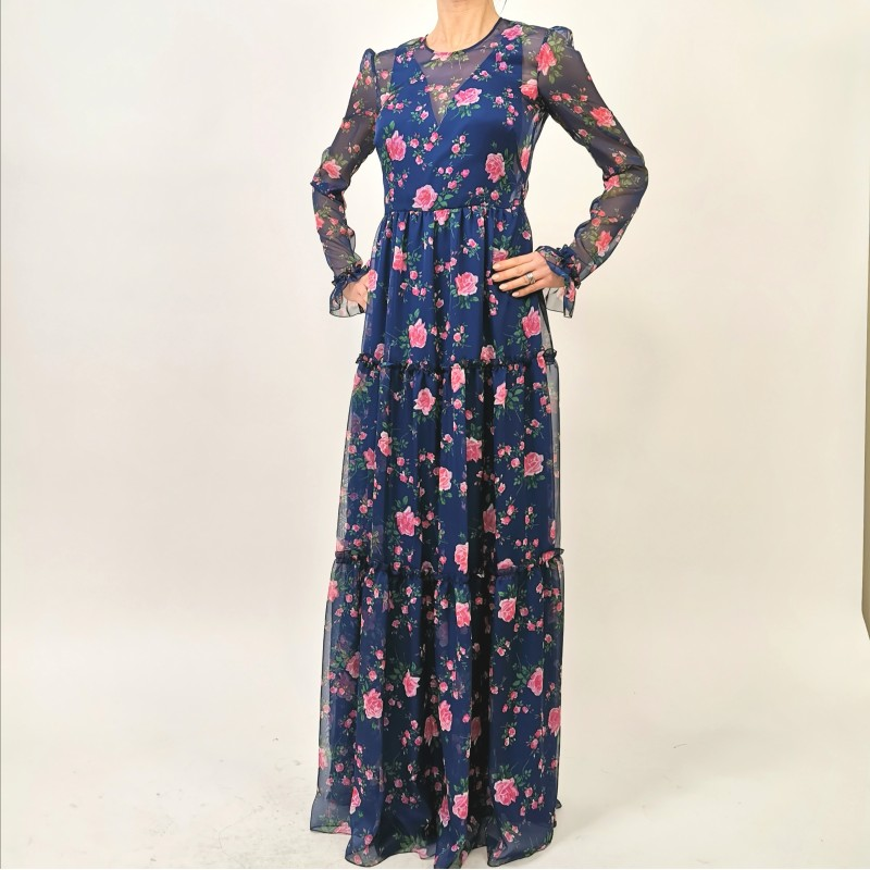 PHILOSOPHY di LORENZO SERAFINI - Long Dresswith Flowers Print - Multicolor