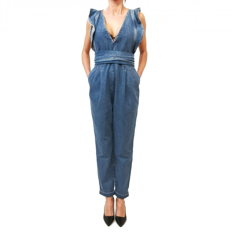 PHILOSOPHY di LORENZO SERAFINI - Tuta in Denim con con Balze- Denim