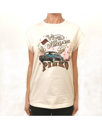 PINKO - T-Shirt in Cotone CANNOLO - Beige