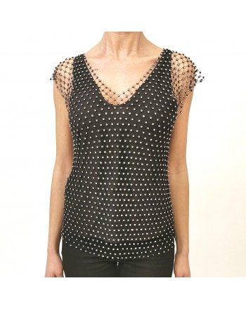 PINKO - Top con Rete Strass ESTEBAN - Nero/Crystal