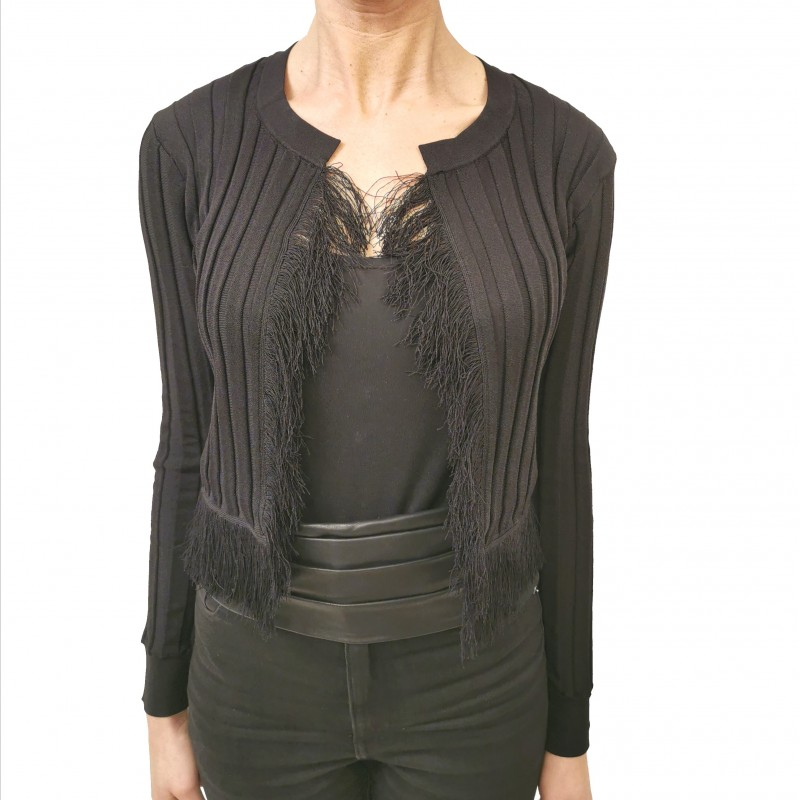 PINKO - Cardigan Knit with Fringes - Black