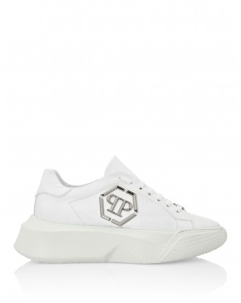 PHILIPP PLEIN - Leather Sneakers with Metallic Logo - White