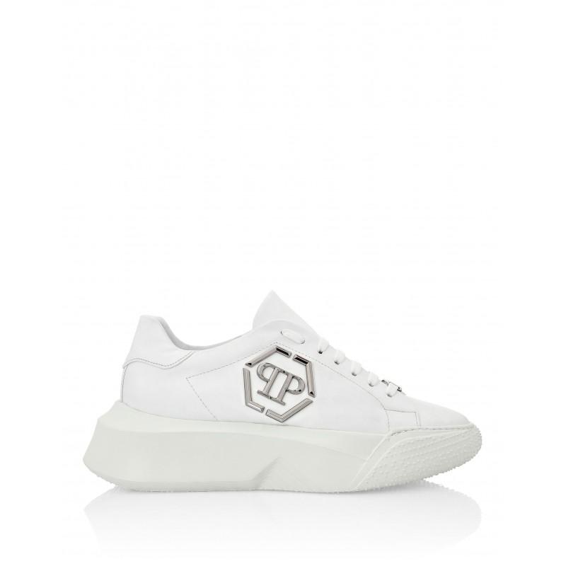 PHILIPP PLEIN - Sneakers in Pelle con Logo Metallico - Bianco