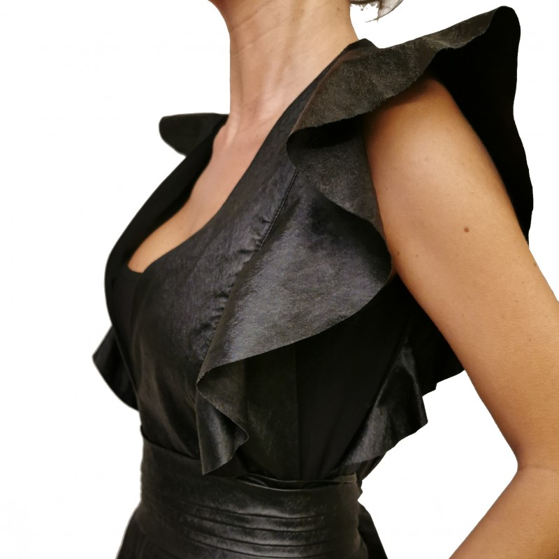 PHILOSOPHY di LORENZO SERAFINI -  Ecoleather Frills Jumpsuit - Black
