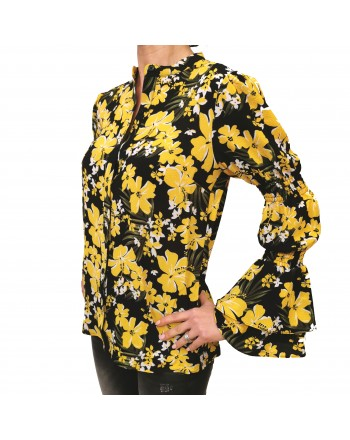 MICHAEL by MICHAEL KORS - Flowers Printed Shirt - Black/Dandlon