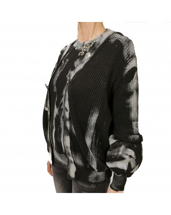 PINKO - SAMOA Cotton Ribbed Cardigan Knit - Black