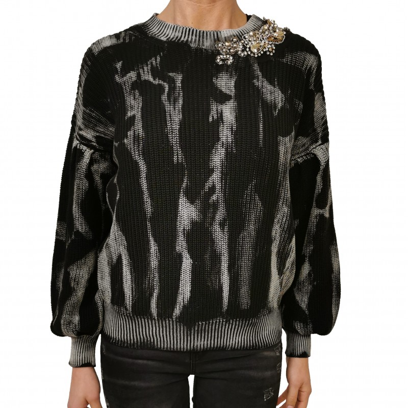 PINKO - Cotton Knit with Crystals Embroidery - Black