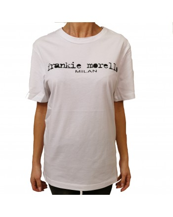 FRANKIE MORELLO - Cotton T-Shirt with Basic Logo Print - White