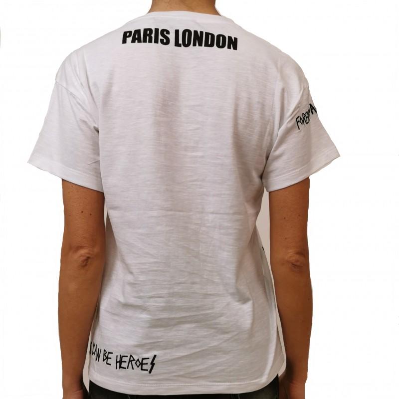 FRANKIE MORELLO - T-Shirt in Cotone con Scritte - Bianco