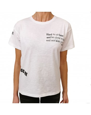 FRANKIE MORELLO - Cotton T-Shirt with Printed Writings - Black