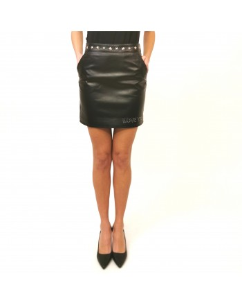FRANKIE MORELLO - Leather Zipper Miniskirt- Black