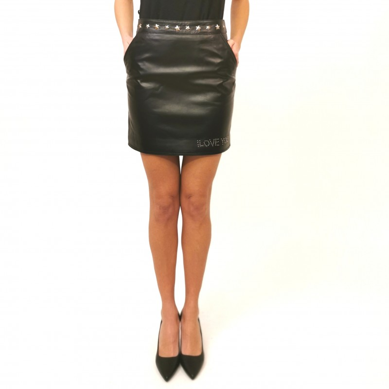 FRANKIE MORELLO - Leather Zipper Miniskirt- Black