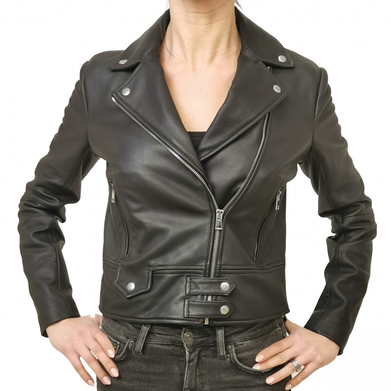 PINKO - CHIODO Leather Jacket SENSIBILE - Black
