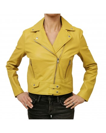 PINKO - CHIODO Leather Jacket SENSIBILE - Yellow