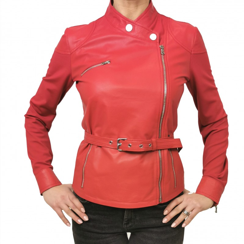 PINKO - CHIODO Leather Jacket SENSIBILE - Red