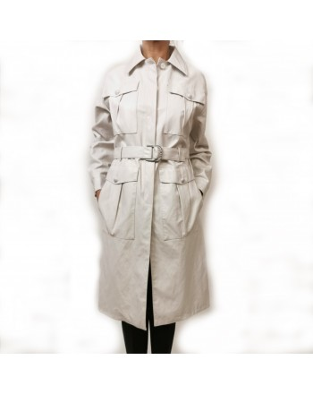 PINKO - DIPLOMATICA raincoat in Faux leather - White