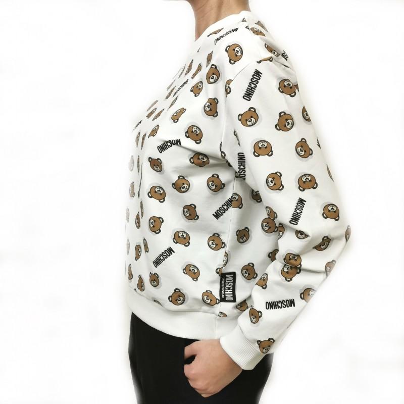 MOSCHINO - Felpa in cotone con Logo - Bianco