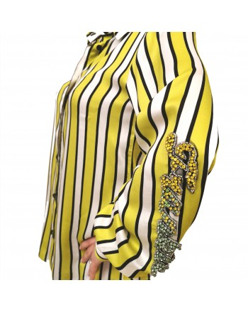 FRANKIE MORELLO - Striped Shirt with Rhinestones Logo - Sulphur Spring