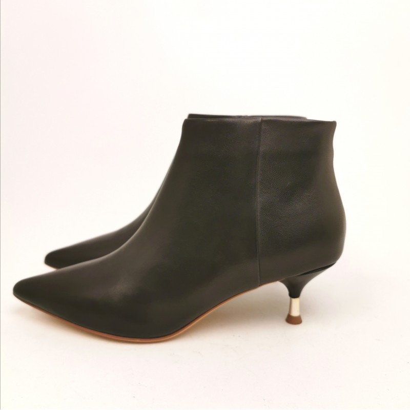 EMANUELLE VEE - Suede Boots with Metallic Heel - Black