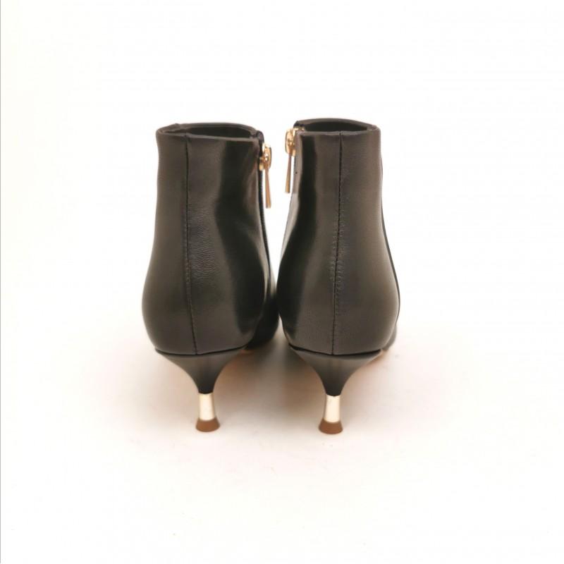 EMANUELLE VEE - Suede Boots with Metallic Heel - Black