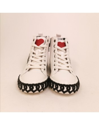 LOVE MOSCHINO - Sneakers alta in pelle - Bianco