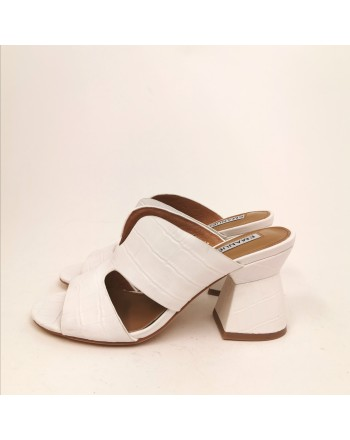 EMMANUELLE VEE - Croco Printed Leather Mules - White