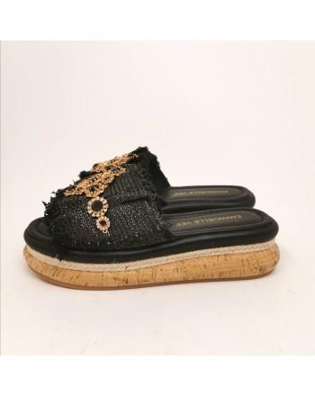 EMMANUELLE VEE - Cork Slippers with Rhinestones - Black