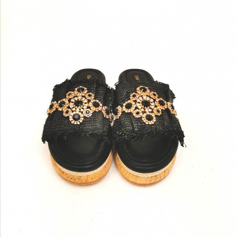 EMANUELLE VEE - Cork Slippers with Rhinestones - Black