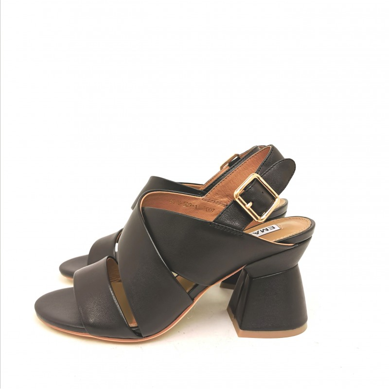 EMANUELLE VEE - Crossed Sandals with Backside Buckle - Black