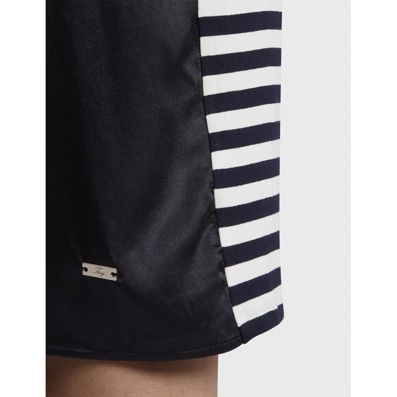 FAY - Jersey Dress with Striped Sleeves - Blue/White