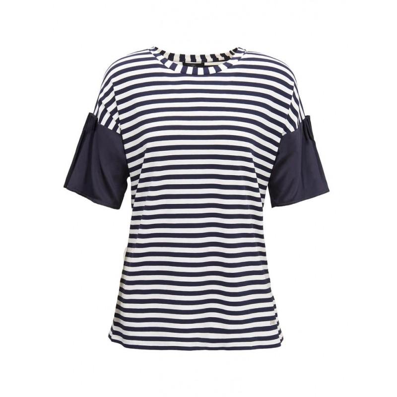 FAY - T-Shirt Ispirazione Marinière - Blu/Bianco