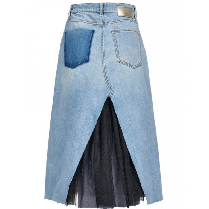 PINKO - AVA longuette skirt in cotton - Denim