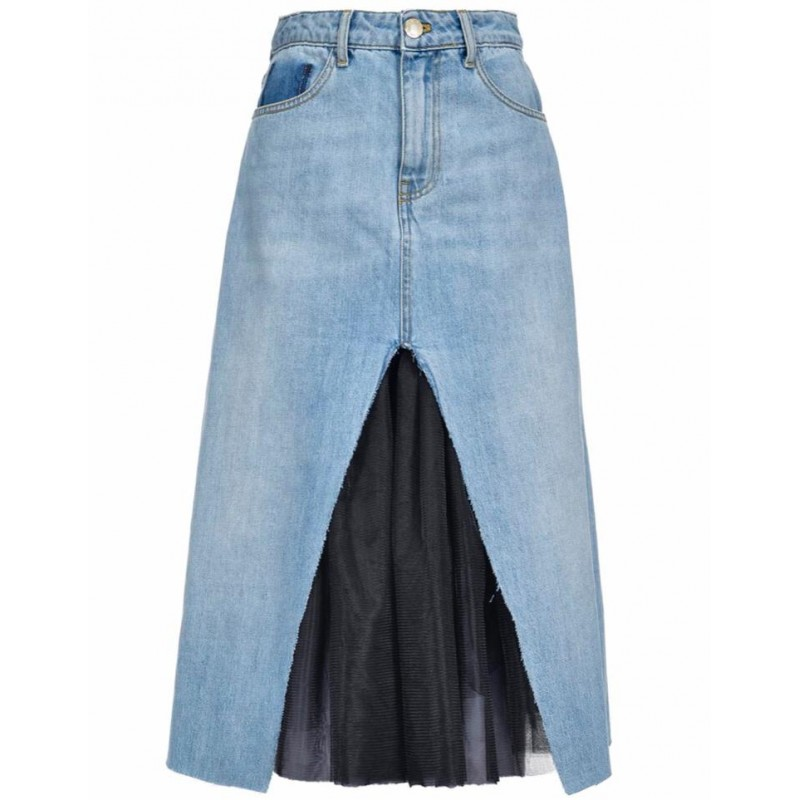 PINKO - Gonna AVA longuette in cotone - Denim