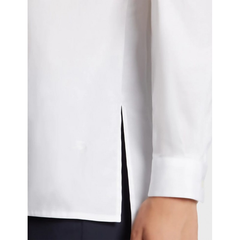 FAY- Linen Shirt with Side Tears- White