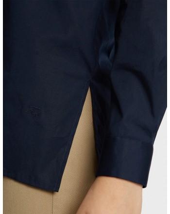 FAY- Camicia in Lino con Spacchi Laterali - Navy