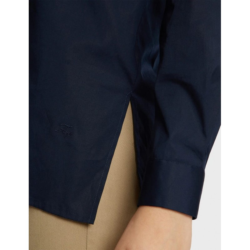 FAY- Linen Shirt with Side Tears- Navy