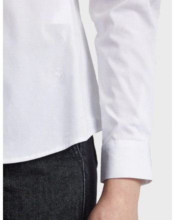 FAY - Camicia  Slim Fit in Popeline di Cotone- Bianco