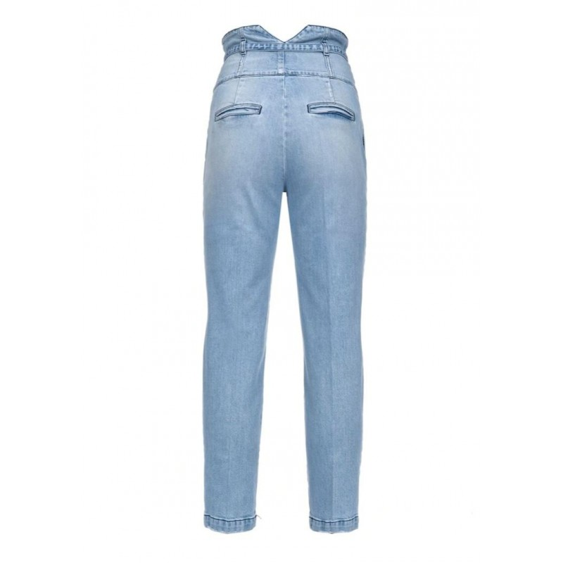 PINKO -  ARIEL Hight waisted jeans with belt - Light/Blue