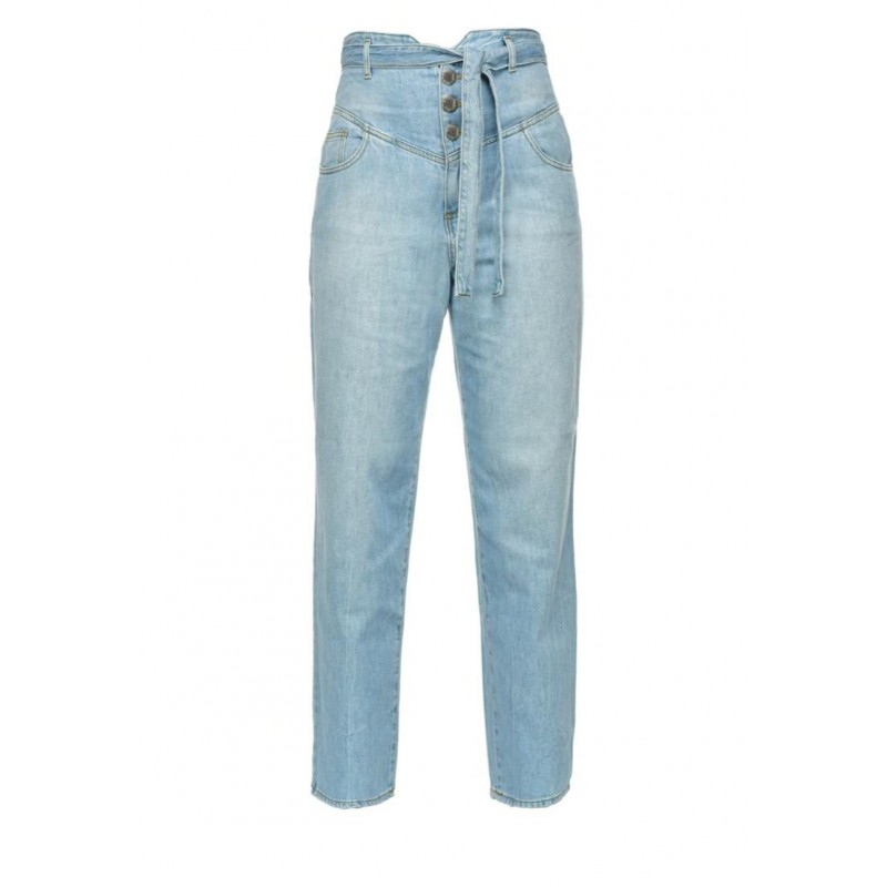 PINKO - Jeans CAROL5 in cotone a vita alta - Light Blue