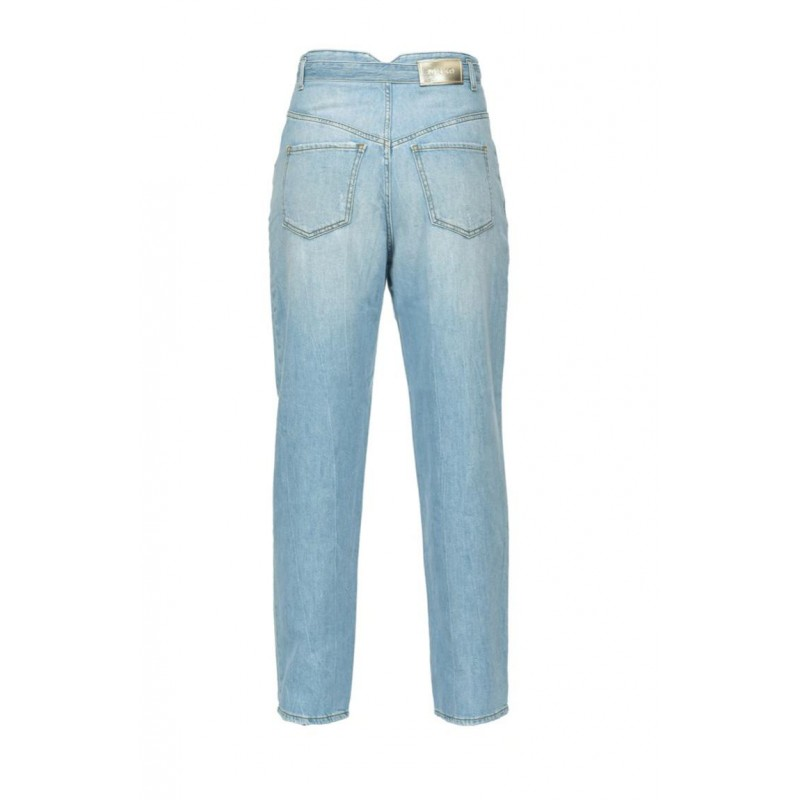 PINKO - CAROL5 Hight waisted jeans with belt in cotton - Light Blue