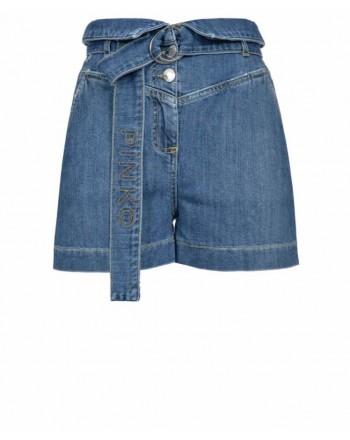 PINKO - LORA cotton shorts with belt - Denim