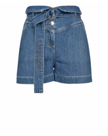PINKO - Short LORA in cotone con cintura - Denim