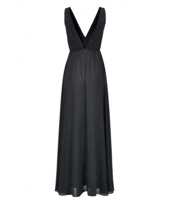 PINKO - FREEZER long sleeveless georgette dress - Crystal Black