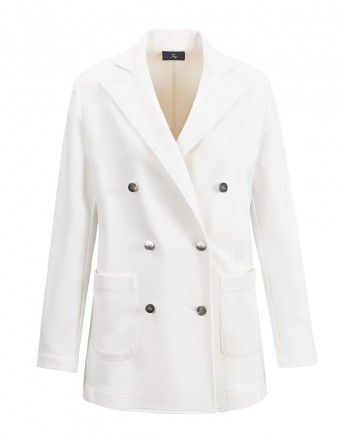 FAY- Doublebreasted Fleece Jacket - White